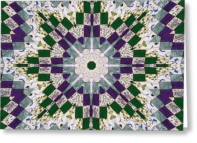 Purple And Green Patchwork Art Greeting Card by Barbara Griffin