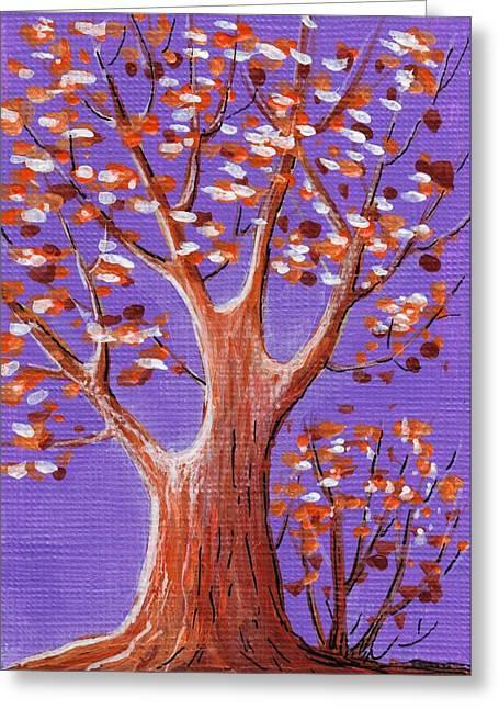 Purple And Orange Greeting Card by Anastasiya Malakhova