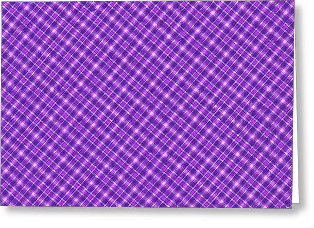 Purple And Pink Diagonal Plaid Pattern Cloth Background Greeting Card by Keith Webber Jr