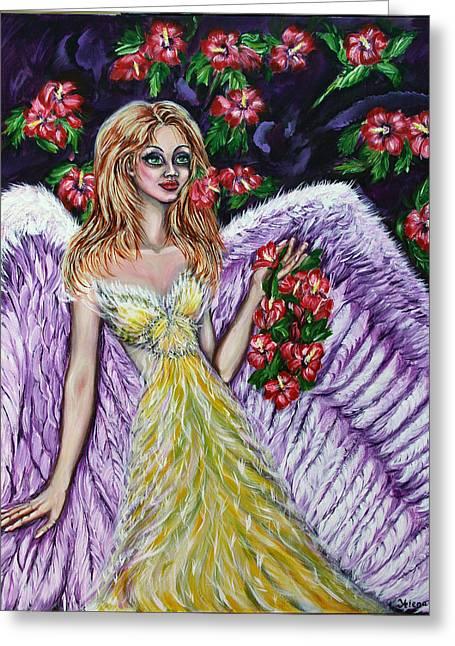 Purple Angel Of Love  Greeting Card by Yelena Rubin