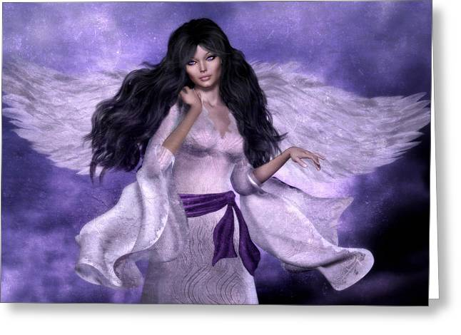 Purple Angel Greeting Card by Suzanne Amberson