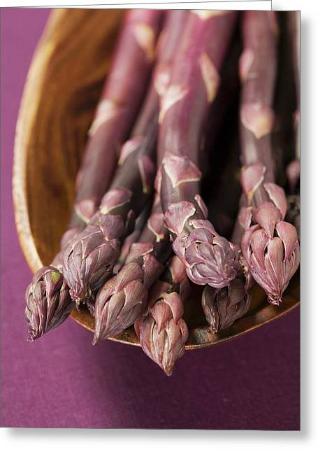 Purple Asparagus In Wooden Bowl Greeting Card