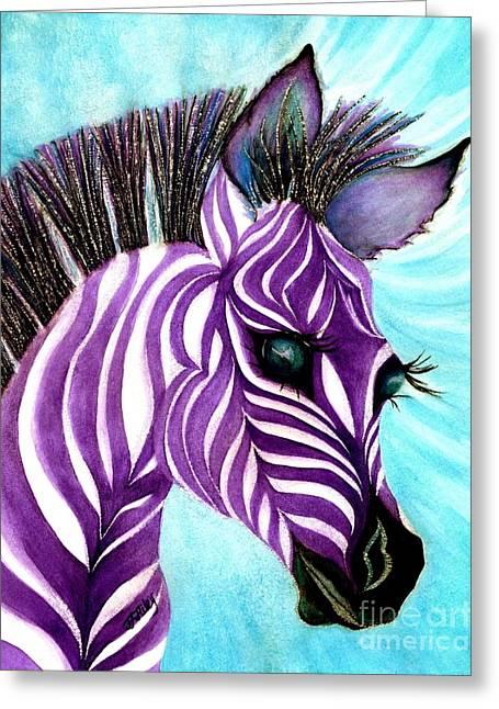 Purple Baby Zebra Greeting Card