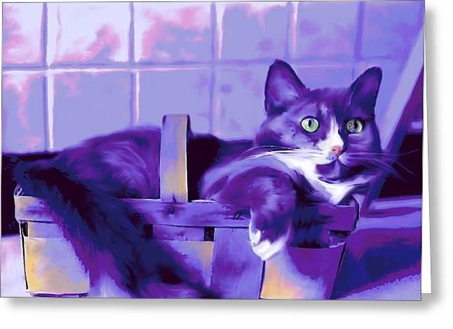 Purple Basket Case Greeting Card