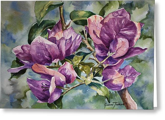 Greeting Card featuring the painting Purple Beauties - Bougainvillea by Roxanne Tobaison
