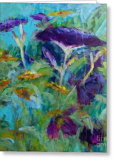 Purple Blooms Greeting Card by Virginia Dauth