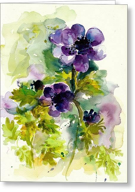 Purple Blue Anemones - Flowers Watercolor Greeting Card