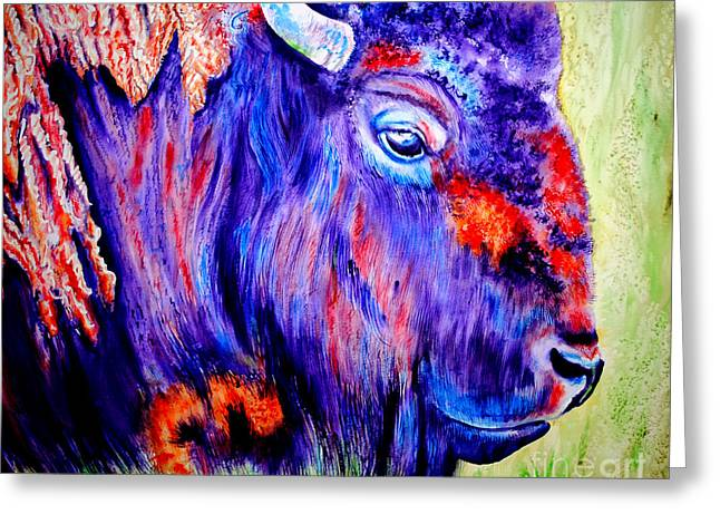 Purple Buffalo Greeting Card by Tracy Rose Moyers
