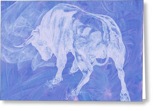 Purple Bull Negative Greeting Card