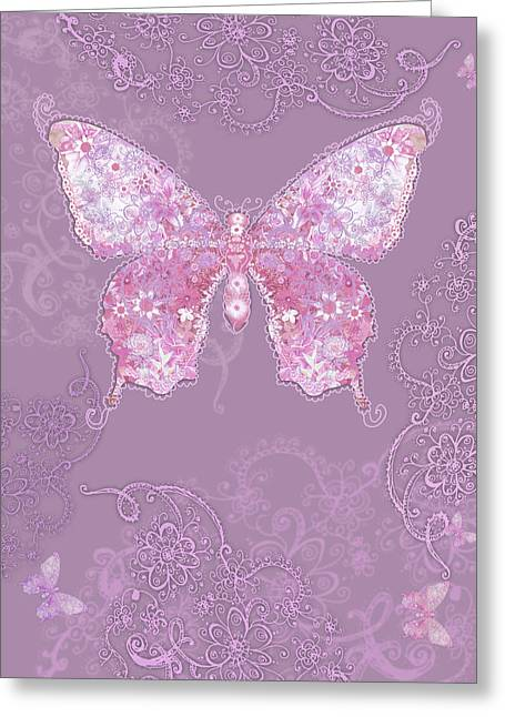 Purple Butterfly Floral Greeting Card by Alixandra Mullins