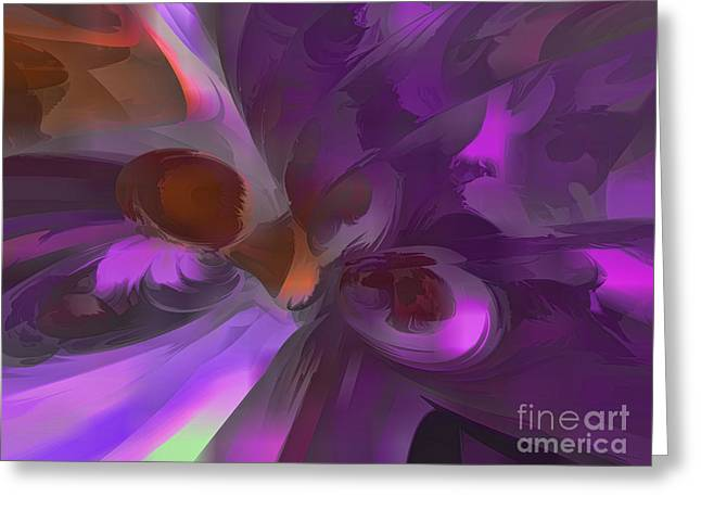 Purple Butterfly Pastel Abstract Greeting Card by Alexander Butler