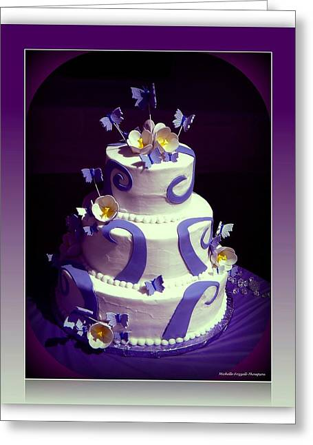 Purple Butterfly Wedding Cake Greeting Card by Michelle Frizzell-Thompson