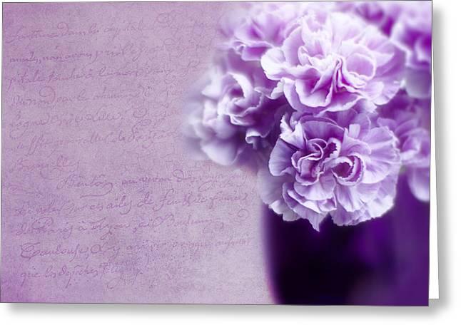 Purple Carnations Greeting Card