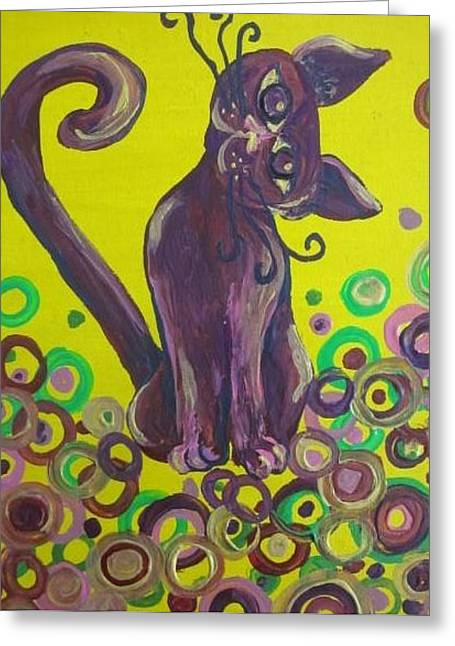 Purple Cat Greeting Card by Cherie Sexsmith