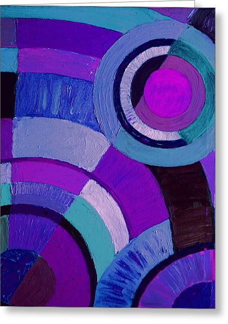 Purple Circle Abstract Painting Greeting Card by Karen Adams