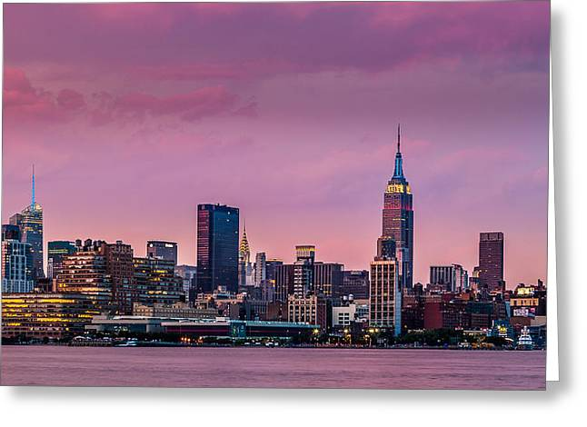 Greeting Card featuring the photograph Purple City by Mihai Andritoiu