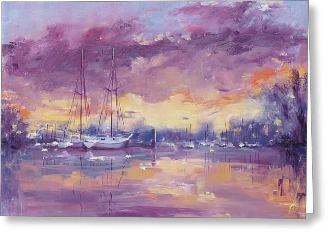Purple Clouds Greeting Card by Laura Lee Zanghetti