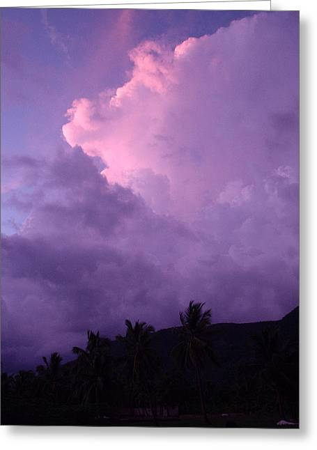 Purple Clouds Greeting Card by Marianne Miles