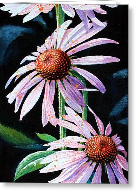 Purple Cone Flowers 1 Greeting Card by Hanne Lore Koehler