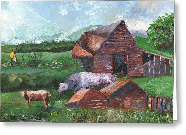 Purple Cow And Barn Greeting Card by William Killen