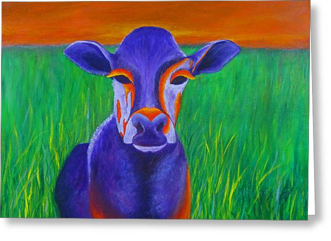Purple Cow Greeting Card by Roseann Gilmore