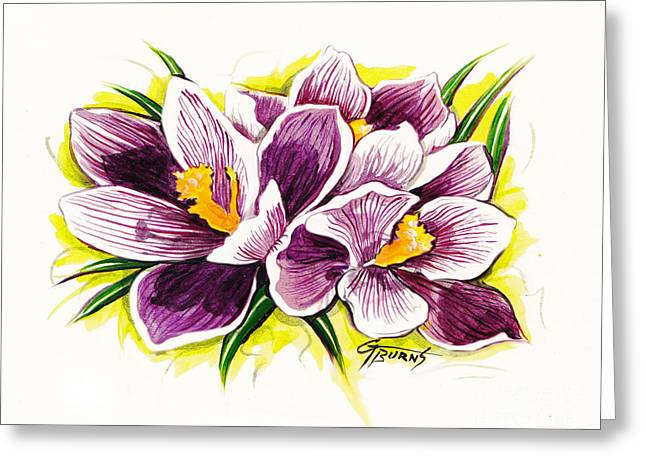 Purple Crocus Watercolor Greeting Card by GG Burns