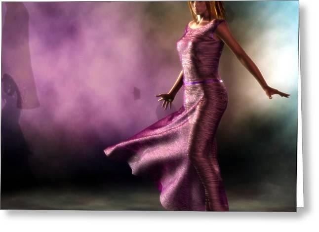 Greeting Card featuring the digital art Purple Dancer by Kaylee Mason