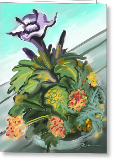 Purple Datura And Lantana Greeting Card