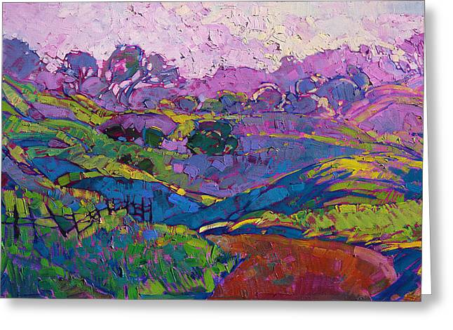 Greeting Card featuring the painting Purple Dawn by Erin Hanson