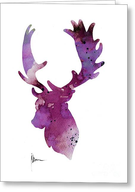 Purple Deer Head Silhouette Watercolor Artwork Greeting Card by Joanna Szmerdt