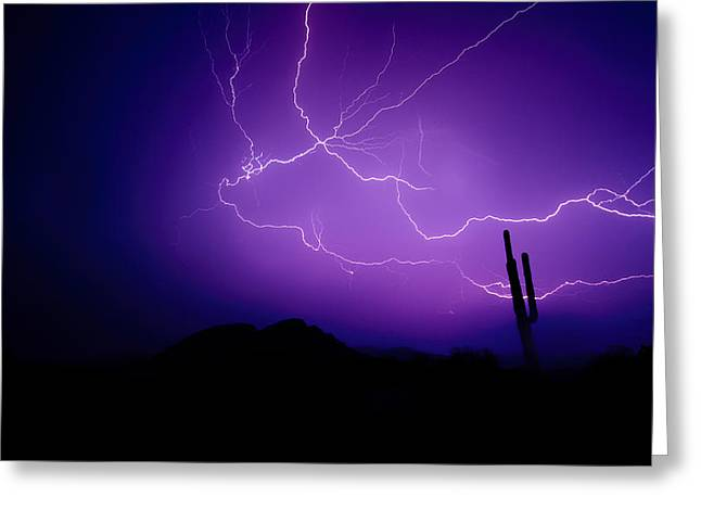 Purple Desert Skies  Greeting Card by Saija  Lehtonen