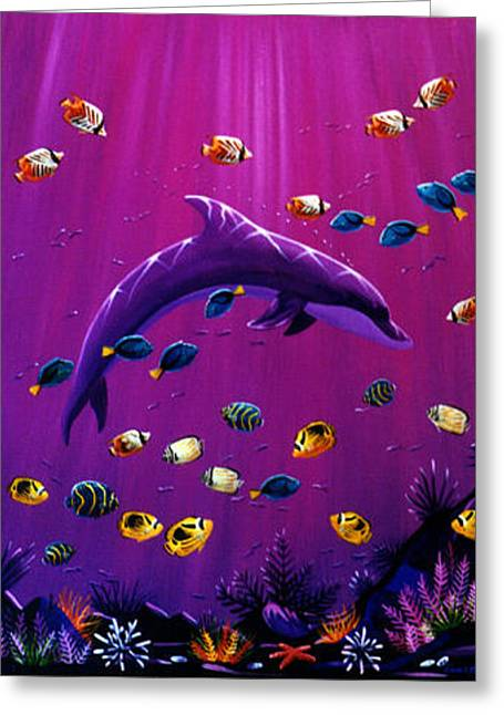 Purple Dolpins Greeting Card by Lance Headlee
