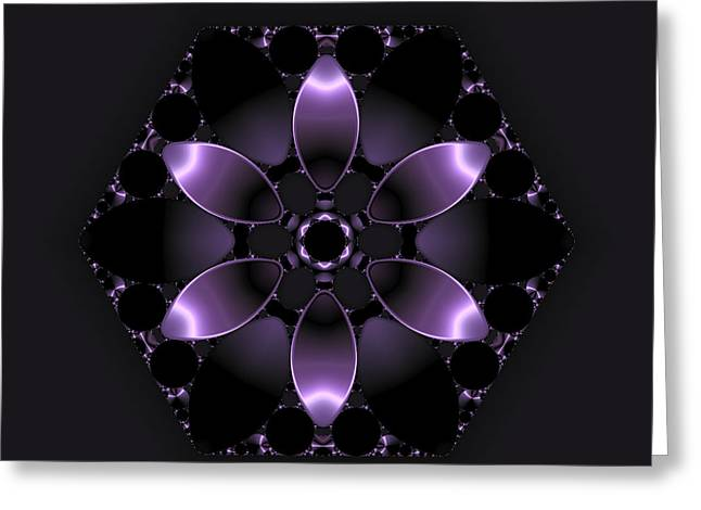 Purple Fantasy Flower Greeting Card by Judi Suni Hall