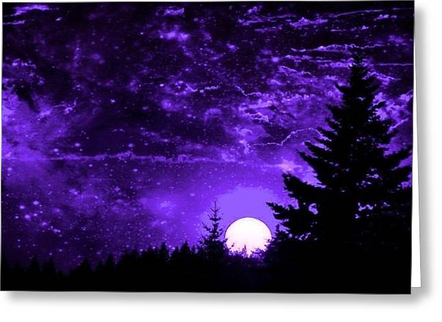 Purple Fantasy Sunset Greeting Card