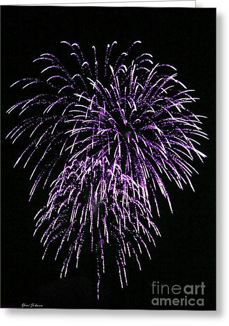Purple Fire  Greeting Card by Yumi Johnson