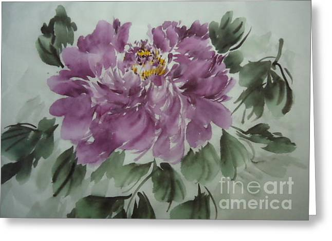 Greeting Card featuring the painting Purple Flower 425012-1 by Dongling Sun