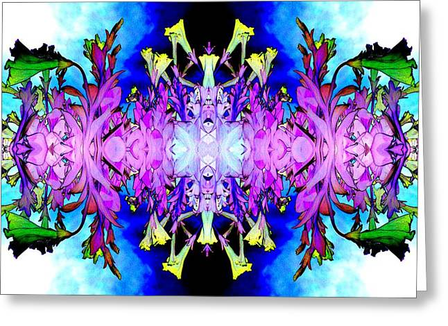 Purple Flower Abstract Greeting Card by Marianne Dow