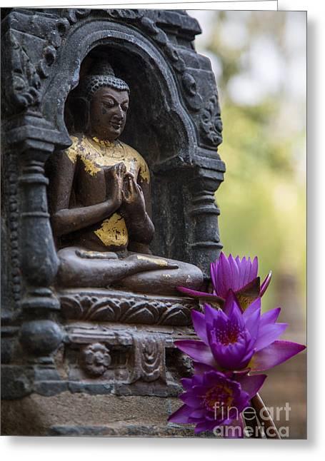 Purple Flowers For Buddha Greeting Card by Mindah-Lee Kumar
