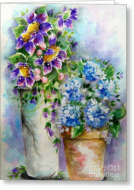 Greeting Card featuring the painting Purple Flowers by Patrice Torrillo