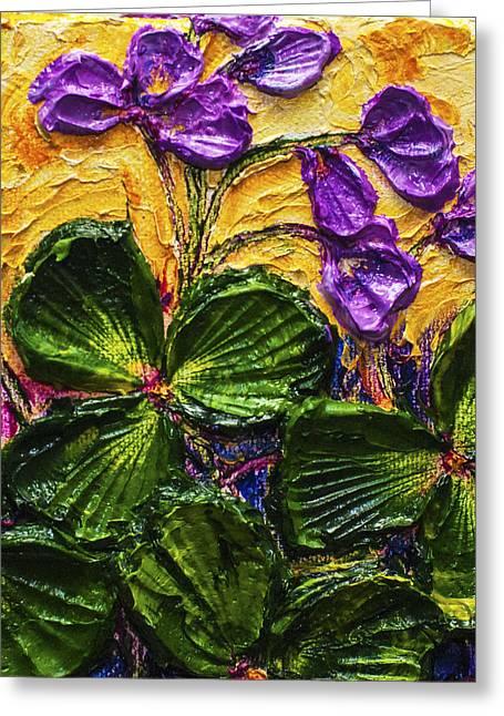Purple Flowers Shamrocks Greeting Card by Paris Wyatt Llanso