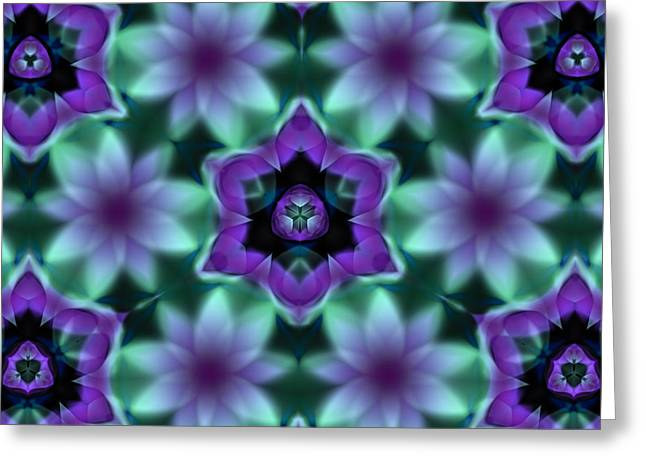 Purple Fractal Flowers Greeting Card by Hakon Soreide