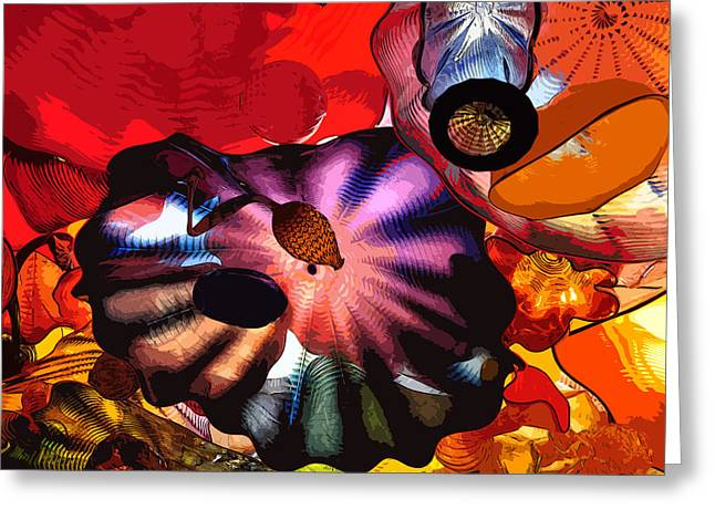 Greeting Card featuring the digital art Purple Glass In Sea Of Red by Kirt Tisdale