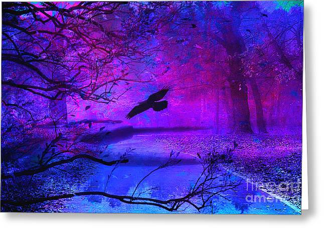 Purple Gothic Haunting Nature - Surreal Fantasy Gothic Raven Forest Woodlands Greeting Card