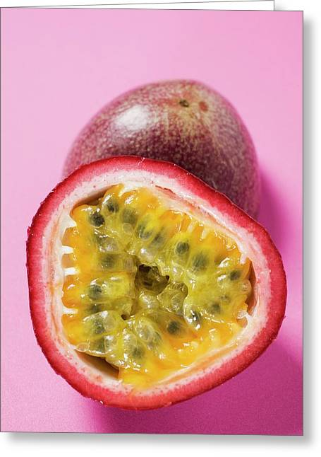 Purple Granadilla (passion Fruit), Halved Greeting Card