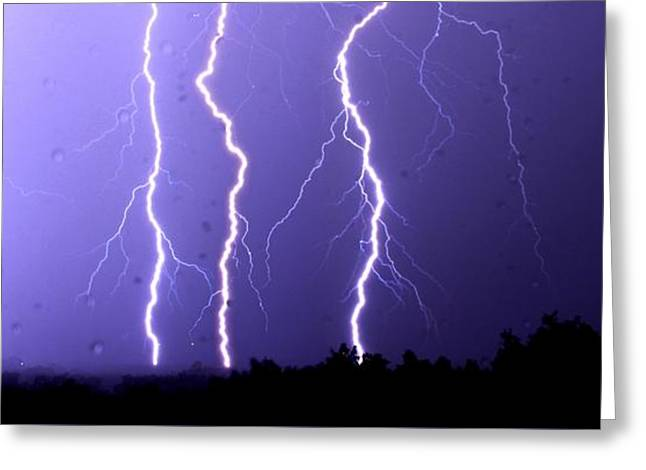 Purple Rain Lightning Greeting Card