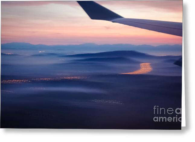 Purple Haze - Atmospheric View Of Early Morning Mist Greeting Card by David Hill