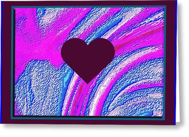 Purple Heart Twirl Triple Border Valentine Greeting Card