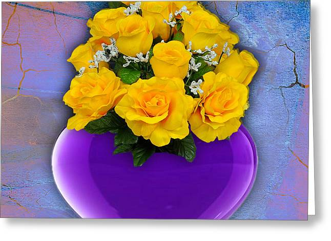 Purple Heart Vase With Yellow Roses Greeting Card