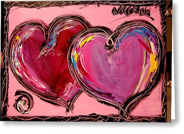 Purple Hearts Greeting Card by Mark Kazav