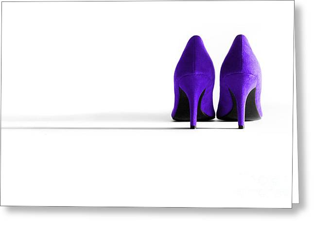 Purple High Heel Shoes Greeting Card by Natalie Kinnear